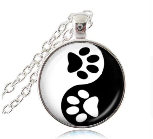 resell for 15.00 or more   22 inch silver tone chain Yin Yang Paw Print / animal/ cat/ dog Black White/ pewter Style #YYPPN120718
