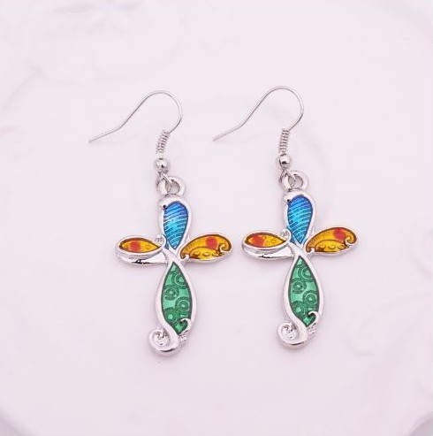 "resell for 18.00 or more Enameled Cross earrings. Plated pewter/ 1 1/2""x 3/4"" Style #ECE120818"