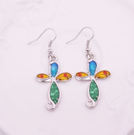 """resell for 18.00 or more Enameled Cross earrings. Plated pewter/ 1 1/2""""x 3/4"""" Style #ECE120818"""