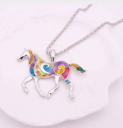 """resell for 21.00 or more 19"""" silver tone chain Enameled Horse / Plated pewter 2"""" x 1 1/2"""" Multicolor Style #EHN120818"""