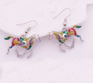 "resell for 18.00 or more Plated pewter/ Enameled Horse Earrings 1"" x 3/4 "" Multi Color  Style #EHE120818"
