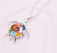 "resell for 21.00 or more 19"" silver tone chain Enameled Turtle Necklace/ Multi Color.  1 1/2"" x 1 3/4"" Style #ETN120818"