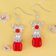 "resell for 9.00 or more Glass Earrings Silver Plated Bowknot Christmas Red Square Clear Rhinestone White Acrylic Imitation Pearl 45mm(1 6/8"") x 15mm( 5/8"") Style #CGE121318"