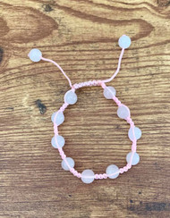 "Resell for 15.00 or more Rose quartz genuine stone  7 to 10"" bracelet Pink nylon cord Chinese knot closure"