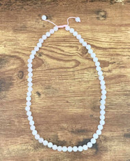 Resell for 27.00 or more Rose quartz genuine stone 7-8 mm round pink nylon cord, 22-25 inch necklace Chinese knot closure Style #PQPCN122818