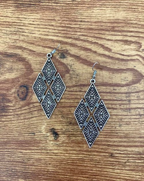 """Resell for  15.00 or more Pewter diamond design boho chic earrings  3"""" x 1 1/4"""" Surgical steel ear wires Style #PDDE122818"""