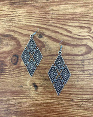 "Resell for  15.00 or more Pewter diamond design boho chic earrings  3"" x 1 1/4"" Surgical steel ear wires Style #PDDE122818"