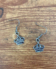 Resell for 6.00 or more Pewter crown earrings  Surgical steel ear wires Style #PCE122818