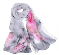 "****This purchase will also donate 1 scarf with earrings to a cancer patient***Search scarves to find all the styles available   Grey Pink Chiffon Scarf 19x62"" Style #GPCS010219"