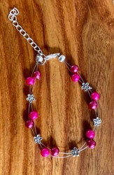 Hot Pink Flower Floating Bracelet