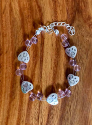 resell for 24.00 or more 7.5 inch plus ext  floating bracelet pet paw heart/ pewter. Pink glass Stye #PPPFB010219 Made by Ashley.