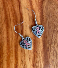 Resell for 15.00 or more Pewter heart w pink crystal awareness ribbon  16x14mm, surgical steel ear wires Style #PACRHE010418