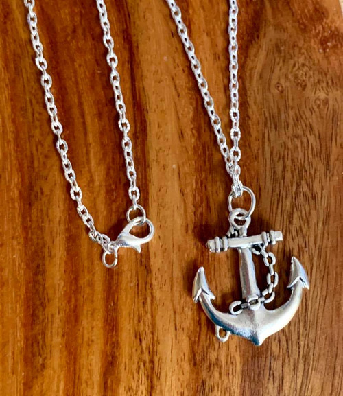 """Resell for 15.00 or more 20"""" silver tone chain pewter anchor 25x27mm  Unisex Style #UAN010418"""
