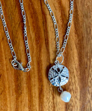 """Resell for 18.00 or more 20"""" silver tone figaro chain necklace  Pewter sand dollar/ enameled/ genuine fresh water pearl Style #SDPN010418"""