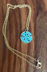 Gold Tone Blue Sand Dollar Necklace