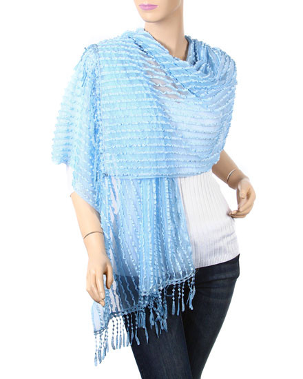 """resell for 36.00 or more Light Blue / 100% Rayon / Ruffle Stripe Net Wrap With Knot Fringe  • 19"""" x 70"""" + 3"""" F  • 100% Rayon  • Light Blue  Style #BSFS010719"""