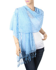 "resell for 36.00 or more Light Blue / 100% Rayon / Ruffle Stripe Net Wrap With Knot Fringe  • 19"" x 70"" + 3"" F  • 100% Rayon  • Light Blue  Style #BSFS010719"