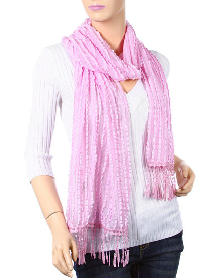 """**This purchase will also donate 1 scarf with earrings to a cancer patient** *Search scarves to find all the styles available    resell for 36.00 or more Pink / 100% Rayon / Ruffle Stripe Net Wrap With Knot Fringe   • 19"""" x 70"""" + 3"""" F • 100% Rayon • Pink Style #PSFS010719"""