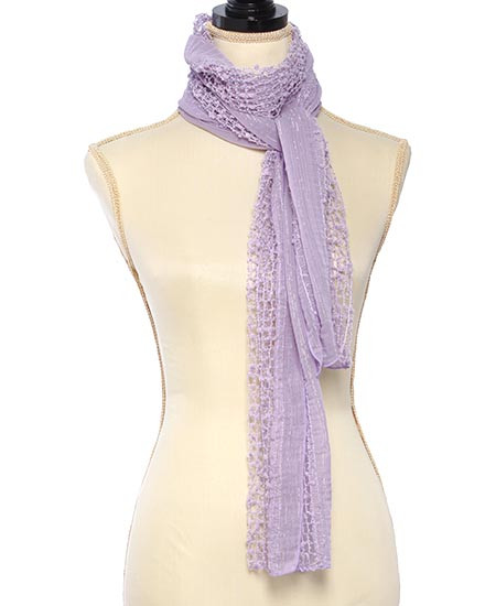 """resell for 36.00 or more Lavender / 100% Polyester / Net Solid Pompom Oblong Scarf  • 12"""" x 70""""  •   100% Polyester   •   Lavender  Style #LLS010719"""