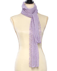 "resell for 36.00 or more Lavender / 100% Polyester / Net Solid Pompom Oblong Scarf  • 12"" x 70"" 	 •   100% Polyester   •   Lavender  Style #LLS010719"