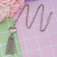 "resell for 15.00 or more Sweater Necklace Long Antique Silver Tassel Heart 75cm(29 4/8"") long Style #LHTN011119"