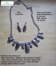 """Necklace & earring set - glass rhinestone/antiqued silver-finished """"pewter"""" steel, clear, freeform drops.  16-inches with 3-inch extender chain & lobster claw clasp.  40x12mm earrings with leverback earwire."""