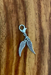 "resell for 9.00 or more pewter angel wings bauble 1 1/4 x 1/3""  lobster clasp Style #AWB011119"