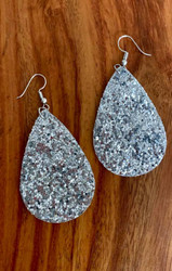 "resell for 18.00 or more silver pailette leatherette earrings 2 1/4"" x 1 3/8"" Surgical steel ear wires Style #SPLE011119"