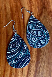 """resell for 18.00 or more black grey white paisley leatheretter earrings 2 1/4"""" x 1 3/8"""" Surgical steel ear wires Style #BGWPLE011119"""