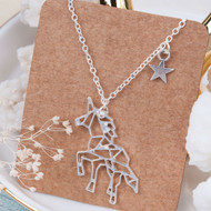 "resell for 12.00 or more Origami Necklace Silver Plated Unicorn Star 45cm(17 6/8"") long. Style #OUSN012219"