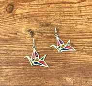 "resell for 21.00 or more Stained Glass Earrings Silver Plated Multicolor Origami Crane 47mm(1 7/8"") x 27mm(1 1/8"") Style #OMCBE012219"