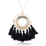 """resell for 15.00 or more Boho Chic Sweater Necklace Long Gold Plated Black Tassel Circle Ring 60cm(23 5/8"""") long Style #BTGTN012219"""