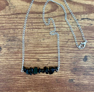 resell for 21.00 or more 20 inch silver tone chain Genuine Black Obsidian Bar necklace Style # BOBN012319