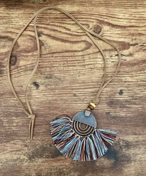 """resell for 18.00 or more  Boho Chic Tassel Necklace/ Long Antique Bronze/ Multi Neutral Tassel 78cm(30 6/8"""") long Style #MNBCTN012319"""