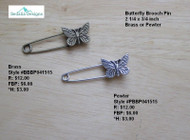 Butterfly Brooch Pin pewter