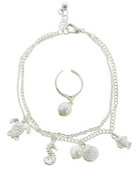 """resell for 27.00 or more  Silver Tone / White Synthetic Pearl / Lead&nickel Compliant / Metal / Lobster Claw / Sea Life Theme / Charm / Anklet & Toe Ring  • 8"""" + EXT, CHARM: 1/2"""" X 5/8"""", TOE RING: 5/8"""" DIA(CUFF)  •   SILVER  Style #ATRSLS012419"""