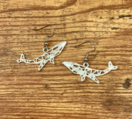 "resell for 12.00 or more Plated pewter origami whale  1 5/8"" x 5/8"" surgical steel earwires Style #OWE013119"