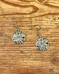 "resell for 12.00 or more Pewter Sand Dollar Earrings Surgical steel earwires 7/8"" x 3/4"" Style #SDE013119"