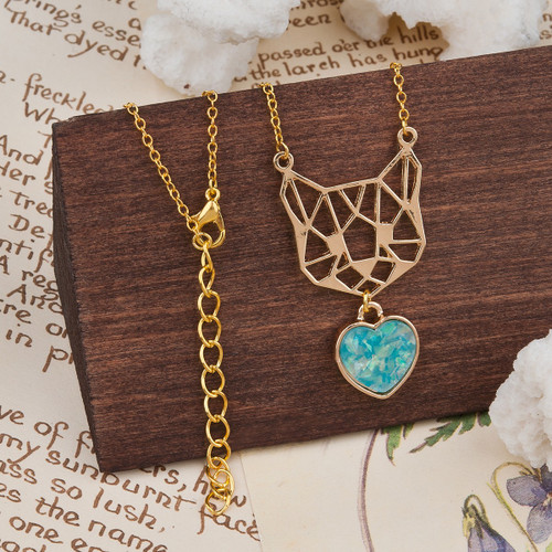 """resell for 9.00 or more Resin Origami Necklace Gold Plated Mint Green Cat Animal Heart 49cm(19 2/8"""") long Style #GTOCN020119"""