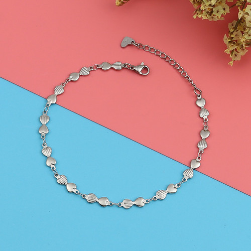 """resell for 15.00 or more 304 Stainless Steel Anklet Silver Tone Bowknot Heart 22cm(8 5/8"""") long plus ext  Style #BHAB020119"""