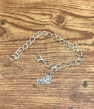 "resell for 12.00 or more Silver tone charm bracelet 7 7/8"" Pewter Cat Person Charm. Style #CPCB020119"