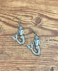 "resell for 15.00 or more Pewter Mermaid Earrings 1 5/8"" x 1"" Surgical Steel ear wires Style #PME020119"