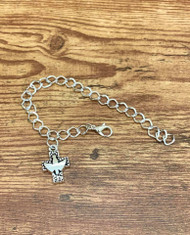 "resell for 12.00 or more 7 7/8"" silver tone charm bracelet Pewter dove cross charm Style #DCCB020219"