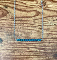 March birthstone Swarovski crystal aquamarine  20 inch sterling silver rolo chain  2 inch (11 Swarovski crystals)  Bar design