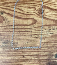 April birthstone Swarovski crystal clear  20 inch sterling silver rolo chain  2 inch (11 Swarovski crystals)  Bar design