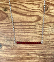July birthstone Swarovski crystal ruby 20 inch sterling silver rolo chain  2 inch (11 Swarovski crystals)  Bar design