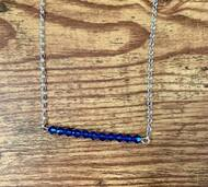 September birthstone Swarovski crystal sapphire  20 inch sterling silver rolo chain  2 inch (11 Swarovski crystals)  Bar design