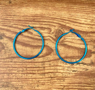 Bright Blue Steel 40mm Hoop Earrings