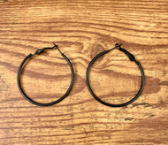 Black Steel 40mm Hoop Earrings Style #BSHE021419