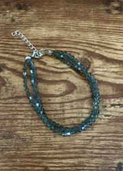 Triple strand Swarovski Bracelet  Black diamond w blue ab color crystal shown. Choose crystal color choose length 7 or 8 inch Style #BDSTBB022319
